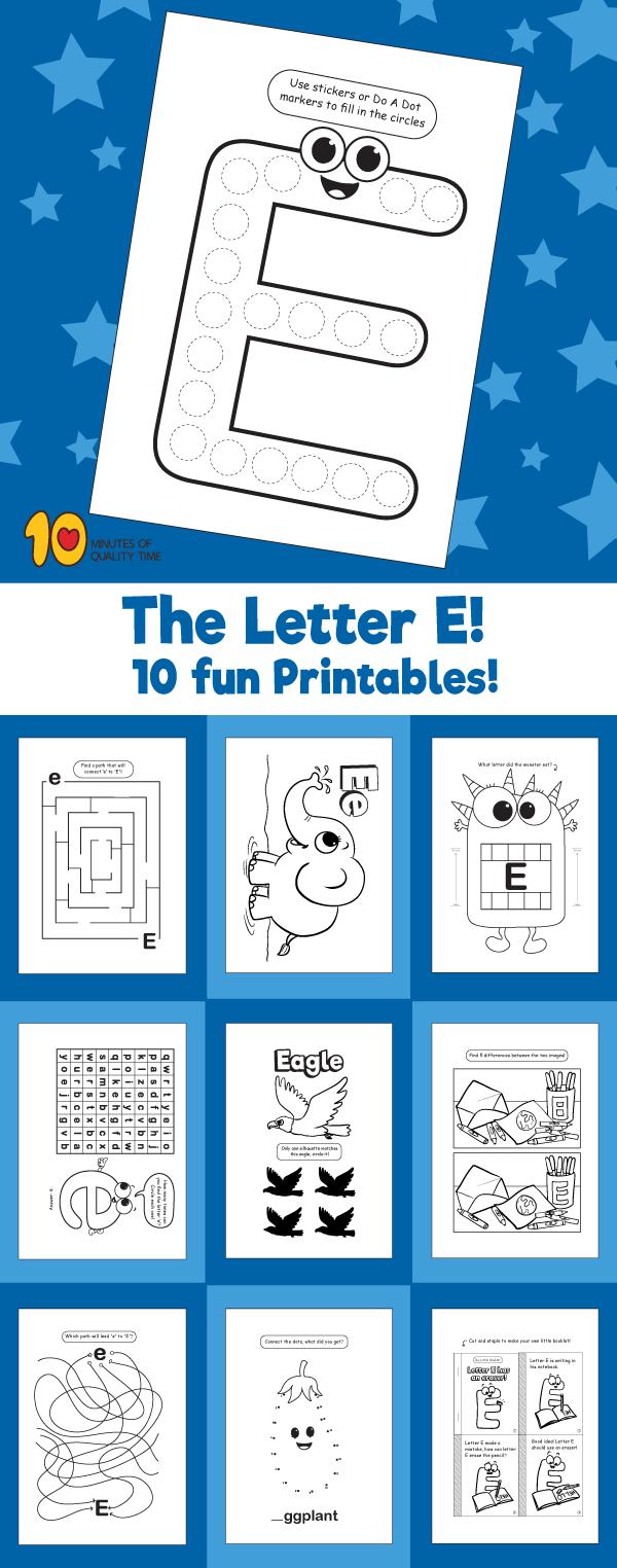 Letter E printable pack