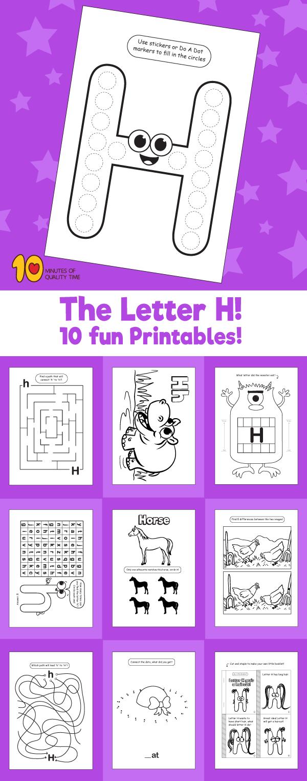 Letter H printable pack