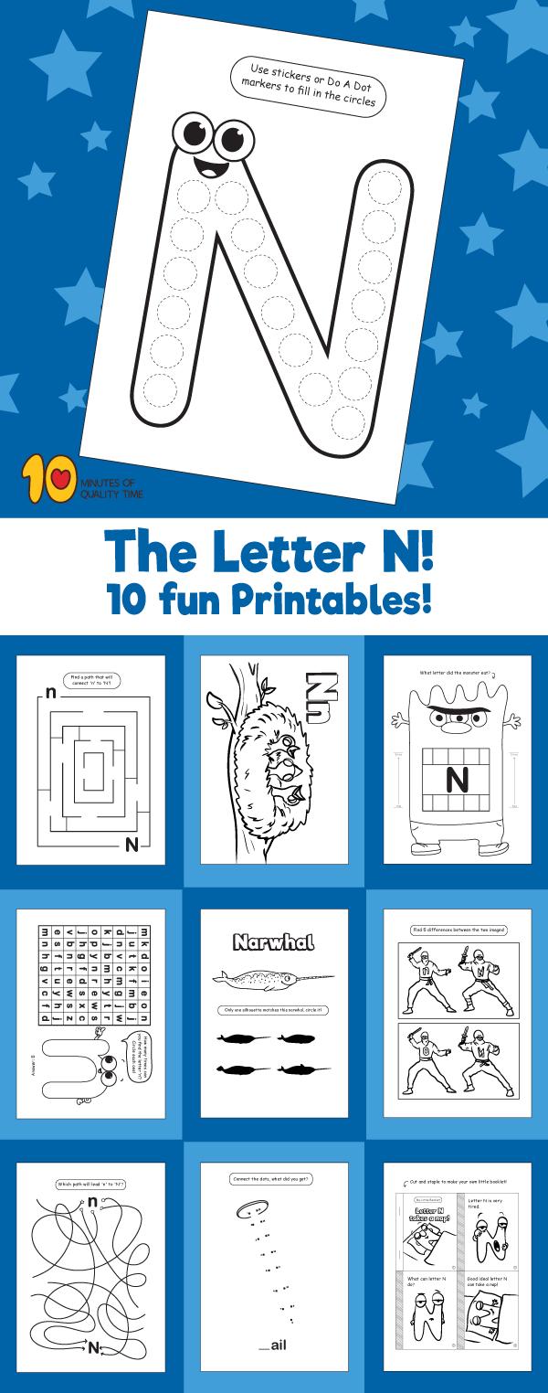 Letter N printable pack