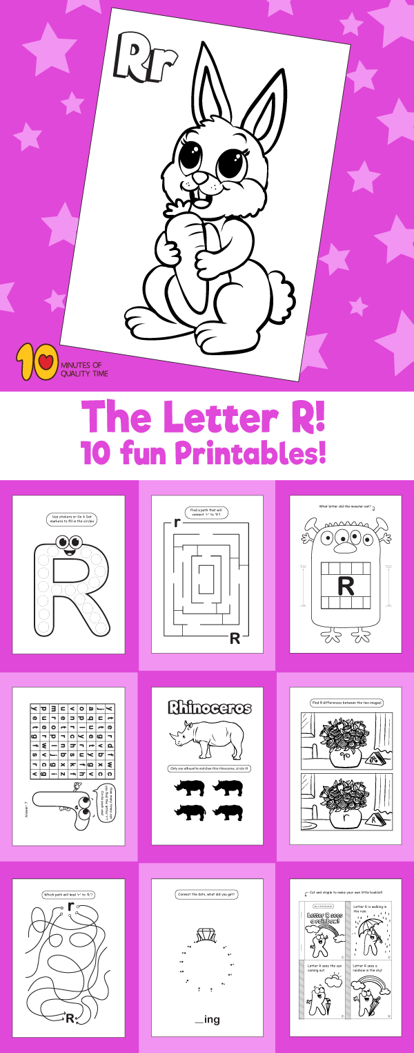 Letter R printable pack – 10 Minutes of Quality Time