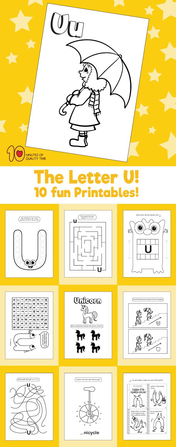 Letter U printable pack