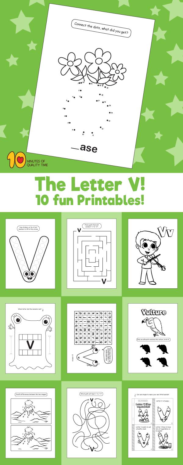 Letter V printable pack