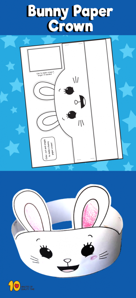 Bunny Paper Crown X on friendship crafts activities games and printables