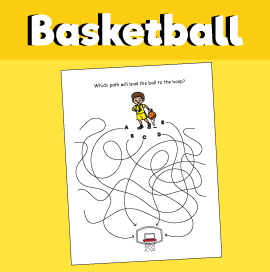 Find the Path Puzzle - Get the Ball to the Hoop