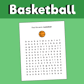 Basketball - Word Search Puzzle