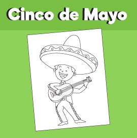 Cinco de Mayo - Boy with Sombrero and Guitarron Coloring Page