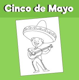 Cinco de Mayo – Boy with Sombrero and Guitarron Coloring Page