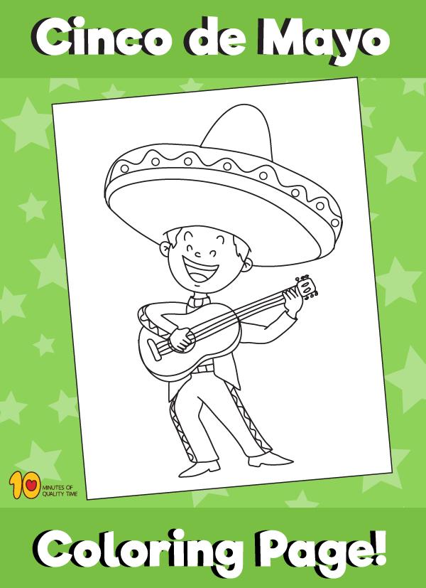 Cinco de Mayo - Boy with Sombrero and Guitarron Coloring Page