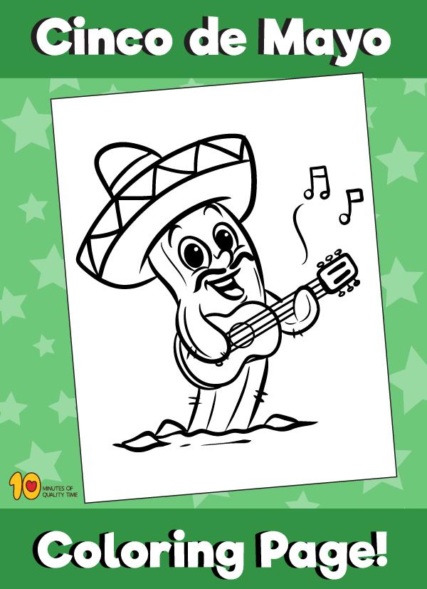 Cinco de Mayo - Cactus Coloring Page