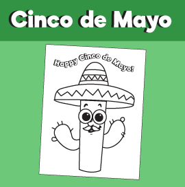 Cinco de Mayo Cactus with Sombrero Coloring Page