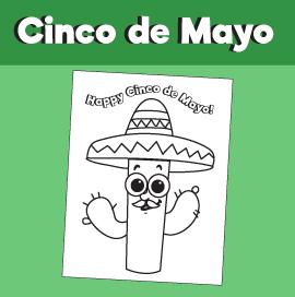 Cinco de Mayo Cactus with Sombrero Coloring Page
