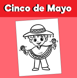 Cinco De Mayo Coloring Page - Boy with Maracas