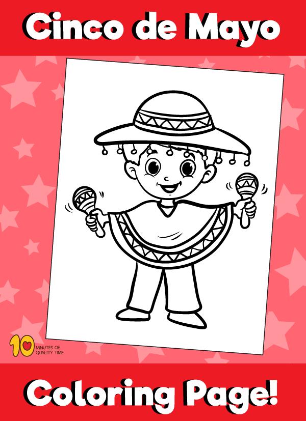 Cinco De Mayo Coloring Page - Boy with Maracas
