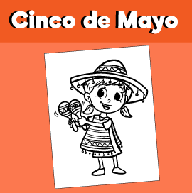 Cinco De Mayo Coloring Page - Girl with Maracas
