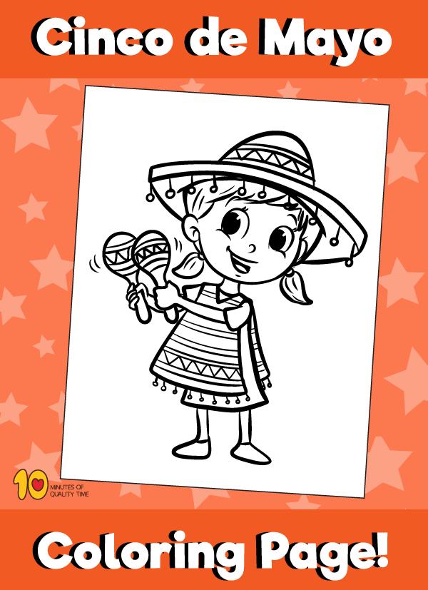 Cinco de Mayo Coloring Page Girl with Maracas
