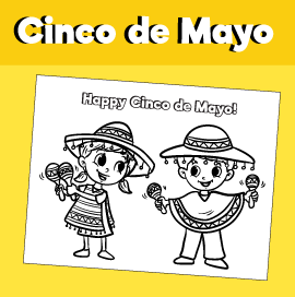 Cinco de Mayo Coloring Page - Kids with Maracas