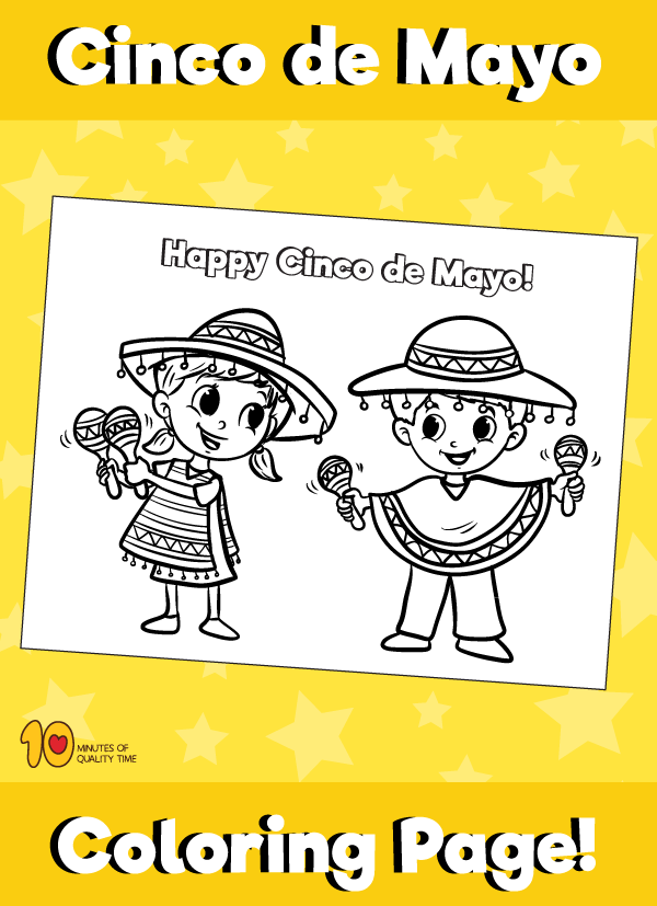 Cinco de Mayo Coloring Page - Kids with Maracas – 10 Minutes of ...