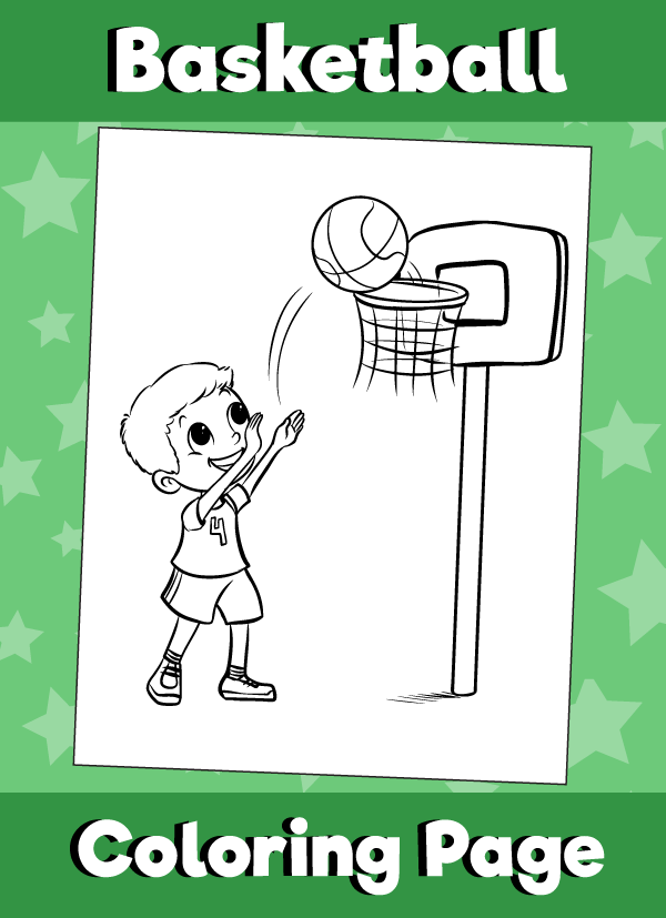Boy Shooting Hoops - Coloring Page