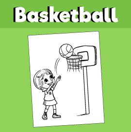 Girl Shooting Hoops - Coloring Page