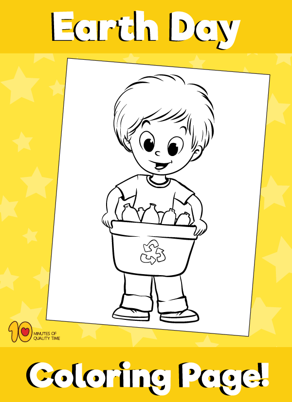 Earth Day Boy Recycling Coloring Page