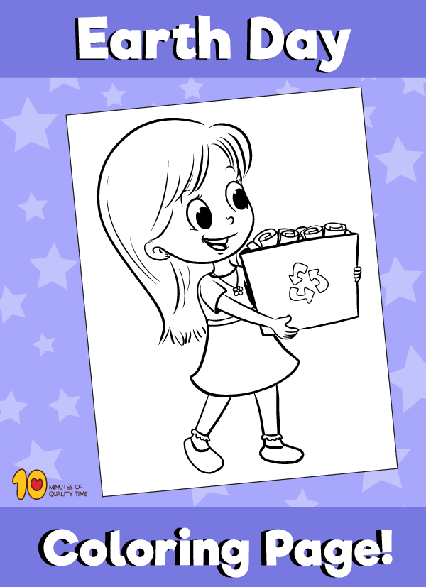Earth Day Girl Recycling Coloring Page