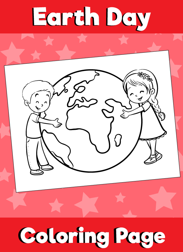 Earth Day Coloring Page Kids Hugging
