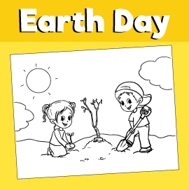 Earth-day-coloring-page-kids-planting-tree
