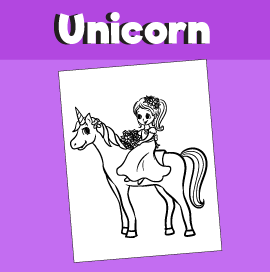 Coloring Page - Girl riding a Unicorn