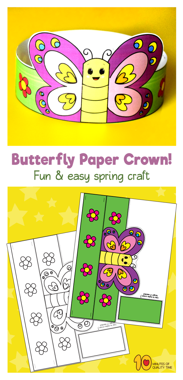Spring Butterfly Paper Crown