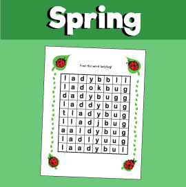 Spring Word Search - Ladybug