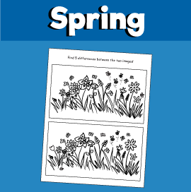 Spot the Difference Puzzle for Spring - Flowers