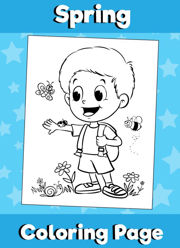 Spring coloring page - Boy