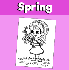 Spring Coloring Page - Girl With Flowers