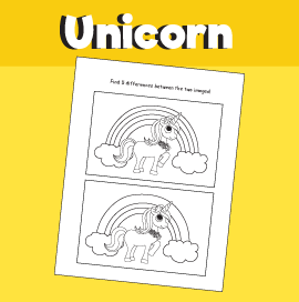 Unicorn Spot the Difference Puzzle
