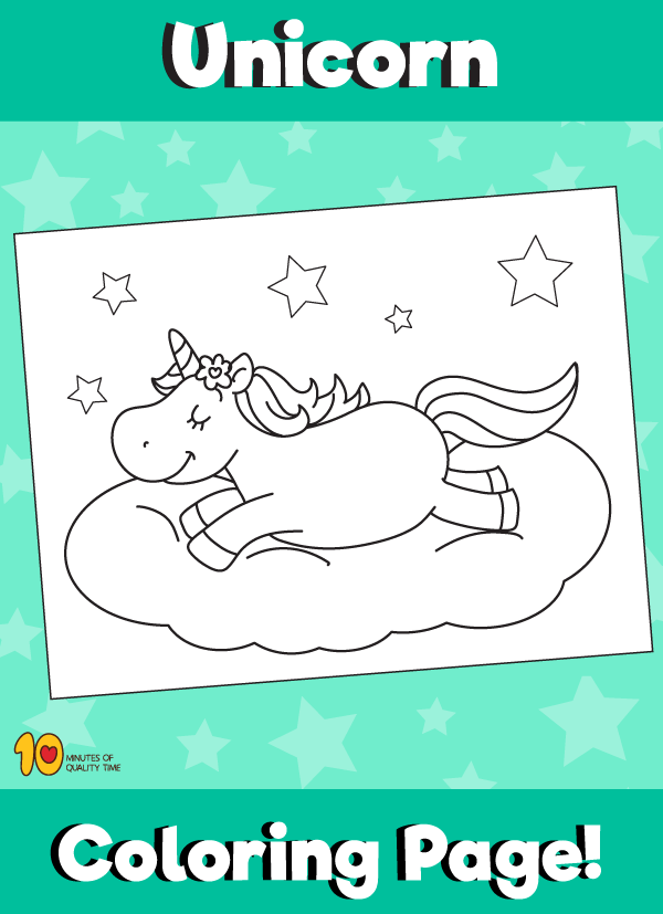 Unicorn on Cloud Coloring Page
