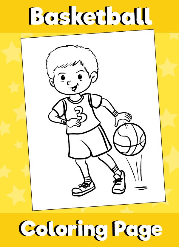 Boy Bouncing Basketball - Coloring Page