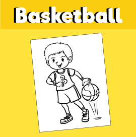 Boy Bouncing Basketball - Coloring Page