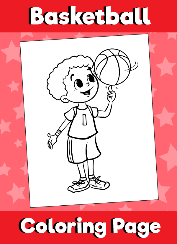 coloring page boy spinning Basketball on finger