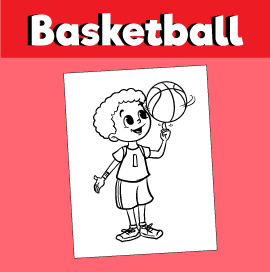 Boy Spinning Basketball on Finger - Coloring Page