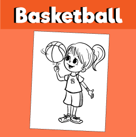 Girl Spinning Basketball on Finger - Coloring Page