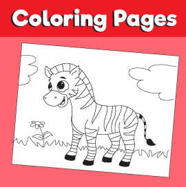 Zebra Coloring Page - Animal Coloring Page