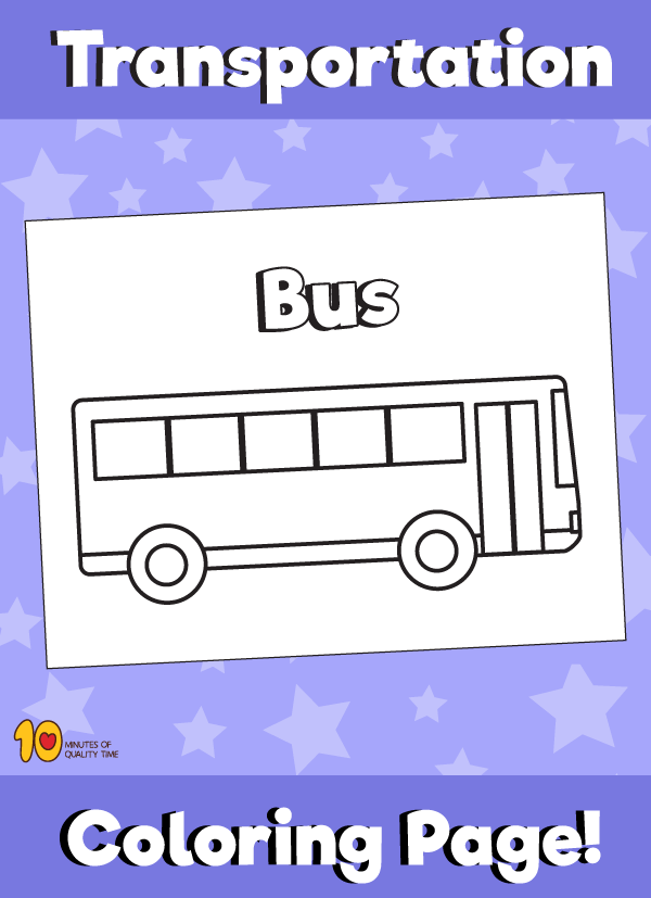 Bus Coloring Page - Transportation Coloring Pages