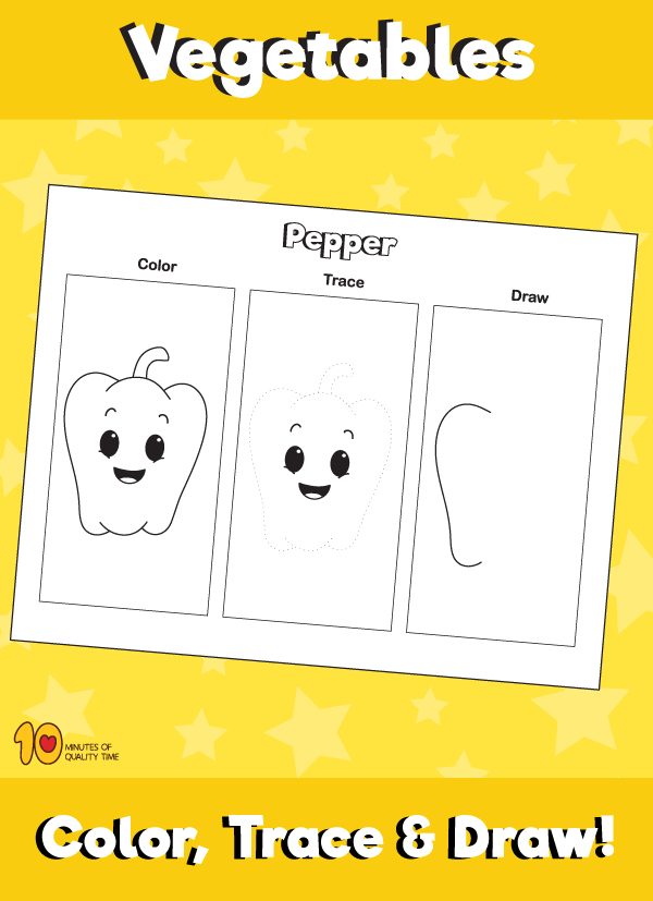Color, Trace and Draw a Pepper