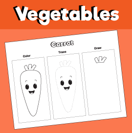 Color, Trace and Draw a Carrot