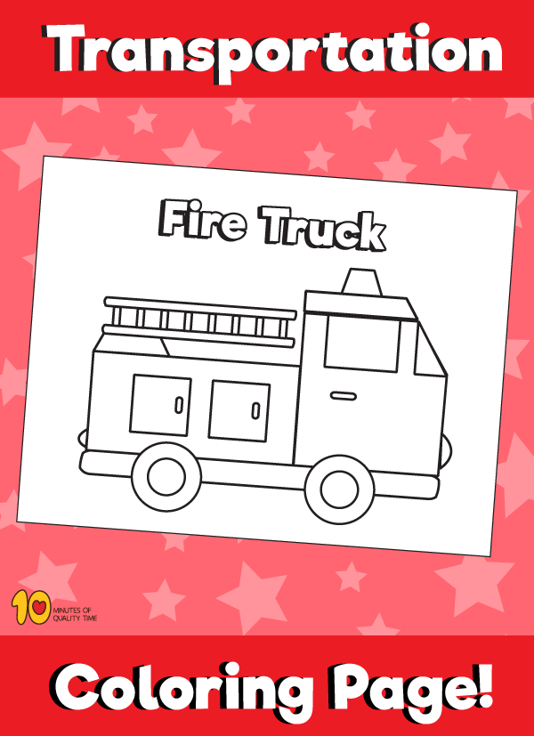 Fire Truck Coloring Page - Transportation Coloring Pages