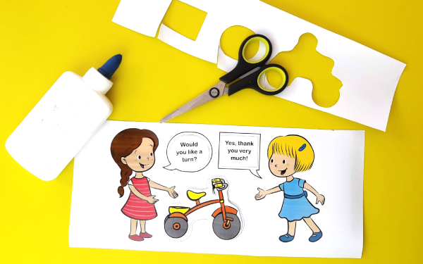 Girls Taking Turns on Tricycle - Paper Craft