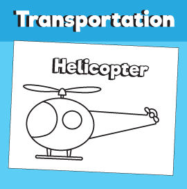 Helicopter Coloring Page - Transportation Coloring Pages