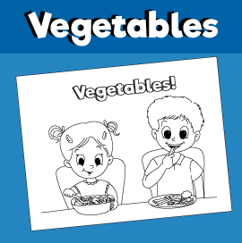 Kids Eating Vegetables - Coloring Page