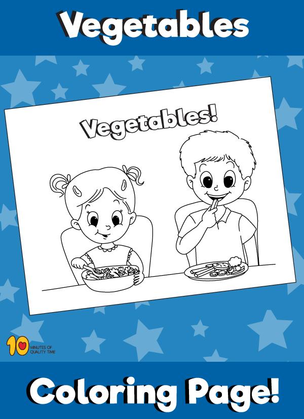 Kids Eating Vegetables - Coloring Page