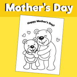 Coloring page for Mother's Day - Teddy Bears